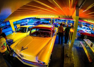 Yellow classic car with fisheye lens