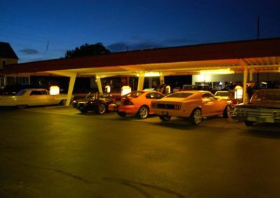 Classic Car night at Rudy's. Vintage cars on display.