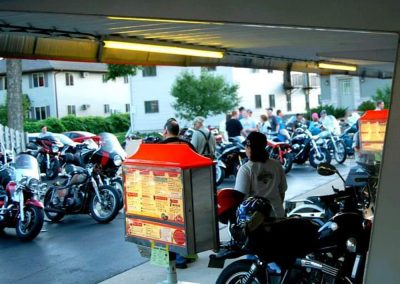 Motocycle meetup at Rudy's Drive-In