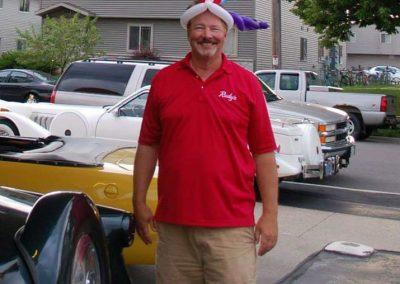 Gary Rudy wearing a balloon hat